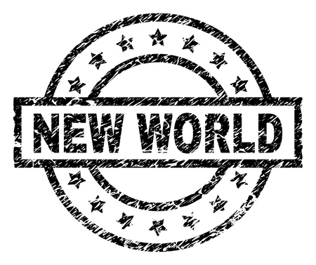 NEW WORLD stamp seal watermark with distress style. Designed with rectangle, circles and stars. Black vector rubber print of NEW WORLD text with grunge texture. Illustration