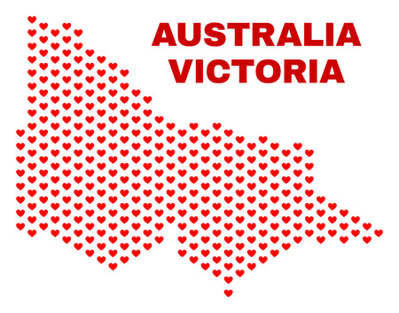 Mosaic Australian Victoria map of valentine hearts in red color isolated on a white background. Regular red heart pattern in shape of Australian Victoria map.  イラスト・ベクター素材