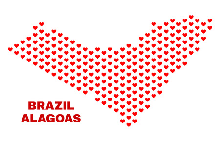 Mosaic Alagoas State map of love hearts in red color isolated on a white background. Regular red heart pattern in shape of Alagoas State map. Abstract design for Valentine decoration.