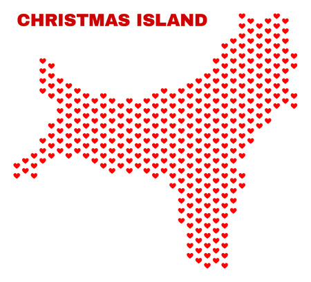 Mosaic Christmas Island map of heart hearts in red color isolated on a white background. Regular red heart pattern in shape of Christmas Island map. Abstract design for Valentine decoration.