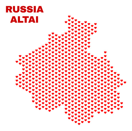 Mosaic Altai Republic map of valentine hearts in red color isolated on a white background. Regular red heart pattern in shape of Altai Republic map. Abstract design for Valentine illustrations. 矢量图像