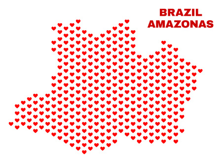 Mosaic Amazonas State map of heart hearts in red color isolated on a white background. Regular red heart pattern in shape of Amazonas State map. Abstract design for Valentine illustrations.