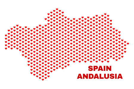 Mosaic Andalusia Province map of love hearts in red color isolated on a white background. Regular red heart pattern in shape of Andalusia Province map. Abstract design for Valentine decoration.