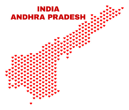 Mosaic Andhra Pradesh State map of valentine hearts in red color isolated on a white background. Regular red heart pattern in shape of Andhra Pradesh State map.