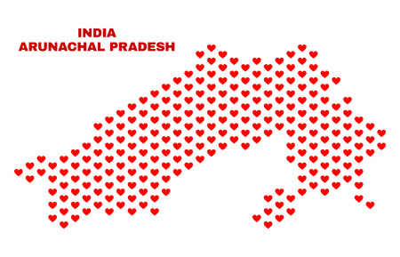 Mosaic Arunachal Pradesh State map of valentine hearts in red color isolated on a white background. Regular red heart pattern in shape of Arunachal Pradesh State map. Illustration