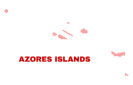 Mosaic Azores Islands map of heart hearts in red color isolated on a white background. Regular red heart pattern in shape of Azores Islands map. Abstract design for Valentine illustrations.