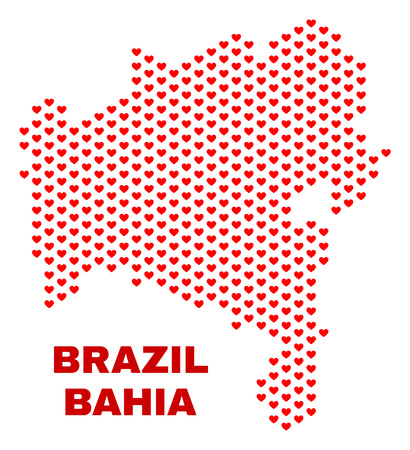 Mosaic Bahia State map of valentine hearts in red color isolated on a white background. Regular red heart pattern in shape of Bahia State map. Abstract design for Valentine illustrations.