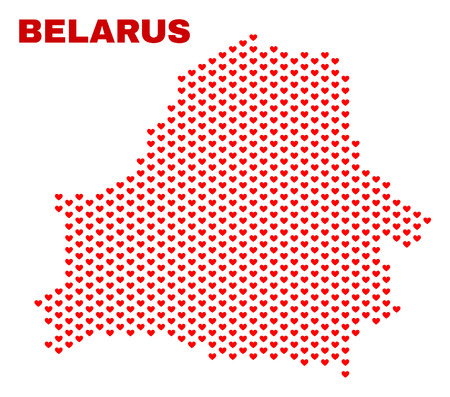 Mosaic Belarus map of heart hearts in red color isolated on a white background. Regular red heart pattern in shape of Belarus map. Abstract design for Valentine decoration.