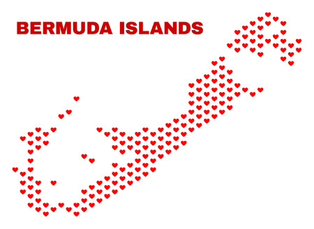 Mosaic Bermuda Islands map of love hearts in red color isolated on a white background. Regular red heart pattern in shape of Bermuda Islands map. Abstract design for Valentine illustrations.