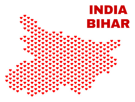Mosaic Bihar State map of valentine hearts in red color isolated on a white background. Regular red heart pattern in shape of Bihar State map. Abstract design for Valentine illustrations.