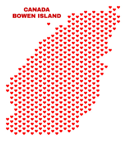 Mosaic Bowen Island map of heart hearts in red color isolated on a white background. Regular red heart pattern in shape of Bowen Island map. Abstract design for Valentine decoration.