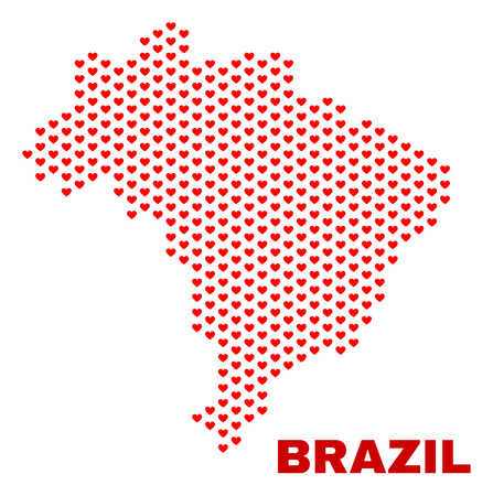 Mosaic Brazil map of love hearts in red color isolated on a white background. Regular red heart pattern in shape of Brazil map. Abstract design for Valentine illustrations. 일러스트
