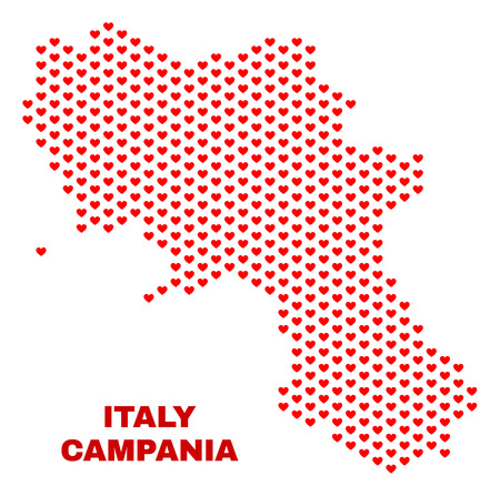 Mosaic Campania region map of love hearts in red color isolated on a white background. Regular red heart pattern in shape of Campania region map. Abstract design for Valentine illustrations.
