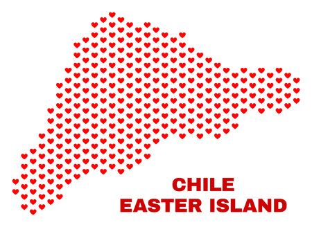 Mosaic Easter Island map of heart hearts in red color isolated on a white background. Regular red heart pattern in shape of Easter Island map. Abstract design for Valentine illustrations.