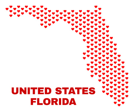 Mosaic Florida State map of heart hearts in red color isolated on a white background. Regular red heart pattern in shape of Florida State map. Abstract design for Valentine illustrations.