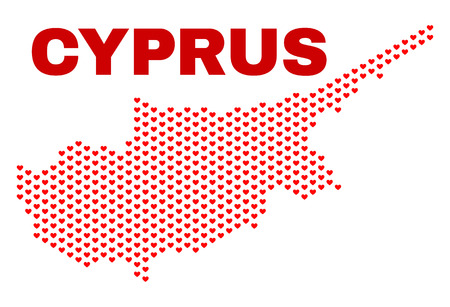 Mosaic Cyprus map of love hearts in red color isolated on a white background. Regular red heart pattern in shape of Cyprus map. Abstract design for Valentine illustrations.