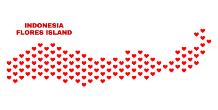 Mosaic Flores Island of Indonesia map of love hearts in red color isolated on a white background. Regular red heart pattern in shape of Flores Island of Indonesia map. 版權商用圖片 - 125341003