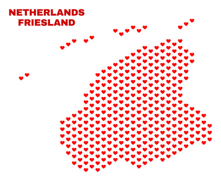 Mosaic Friesland Province map of love hearts in red color isolated on a white background. Regular red heart pattern in shape of Friesland Province map. Abstract design for Valentine illustrations.