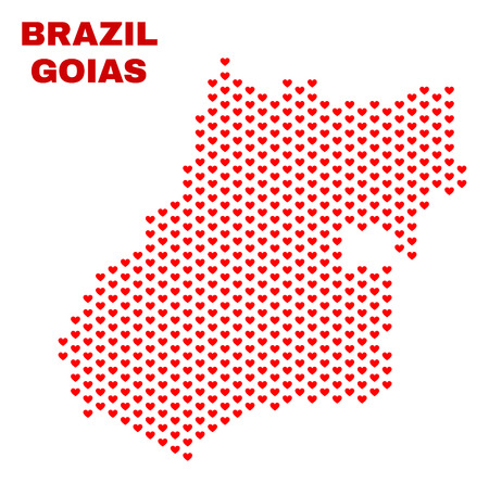 Mosaic Goias State map of valentine hearts in red color isolated on a white background. Regular red heart pattern in shape of Goias State map. Abstract design for Valentine decoration.