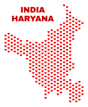Mosaic Haryana State map of heart hearts in red color isolated on a white background. Regular red heart pattern in shape of Haryana State map. Abstract design for Valentine decoration.