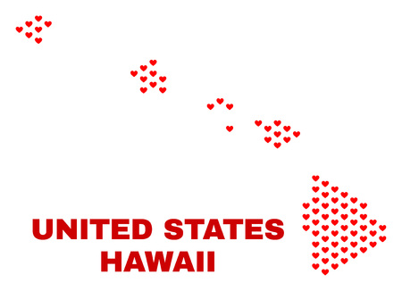 Mosaic Hawaii State map of love hearts in red color isolated on a white background. Regular red heart pattern in shape of Hawaii State map. Abstract design for Valentine illustrations. Çizim