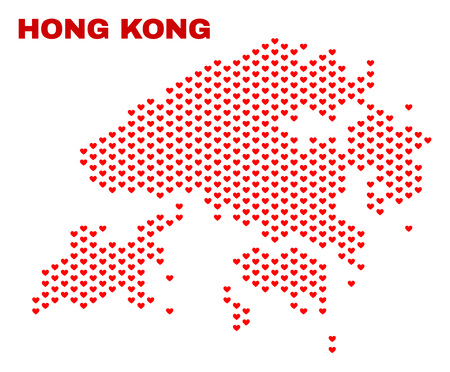 Mosaic Hong Kong map of valentine hearts in red color isolated on a white background. Regular red heart pattern in shape of Hong Kong map. Abstract design for Valentine illustrations.