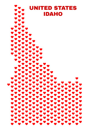Mosaic Idaho State map of heart hearts in red color isolated on a white background. Regular red heart pattern in shape of Idaho State map. Abstract design for Valentine illustrations.