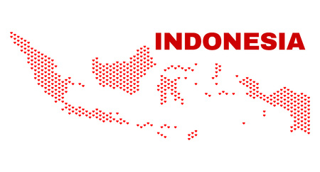 Mosaic Indonesia map of heart hearts in red color isolated on a white background. Regular red heart pattern in shape of Indonesia map. Abstract design for Valentine illustrations.
