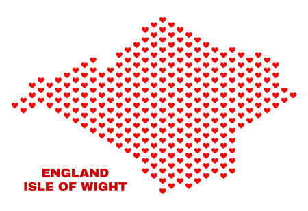 Mosaic Isle of Wight map of heart hearts in red color isolated on a white background. Regular red heart pattern in shape of Isle of Wight map. Abstract design for Valentine illustrations. Vetores