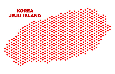 Mosaic Jeju Island map of heart hearts in red color isolated on a white background. Regular red heart pattern in shape of Jeju Island map. Abstract design for Valentine illustrations.