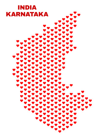 Mosaic Karnataka State map of valentine hearts in red color isolated on a white background. Regular red heart pattern in shape of Karnataka State map. Abstract design for Valentine illustrations. Illustration