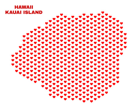 Mosaic Kauai Island map of valentine hearts in red color isolated on a white background. Regular red heart pattern in shape of Kauai Island map. Abstract design for Valentine decoration. Illustration