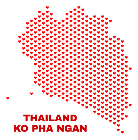 Mosaic Ko Pha Ngan map of heart hearts in red color isolated on a white background. Regular red heart pattern in shape of Ko Pha Ngan map. Abstract design for Valentine illustrations. Stock Vector - 125341099