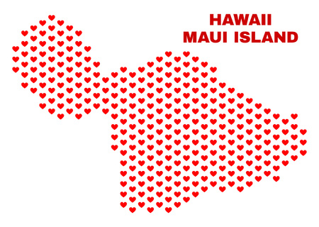 Mosaic Maui Island map of valentine hearts in red color isolated on a white background. Regular red heart pattern in shape of Maui Island map. Abstract design for Valentine illustrations.