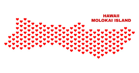 Mosaic Molokai Island map of love hearts in red color isolated on a white background. Regular red heart pattern in shape of Molokai Island map. Abstract design for Valentine illustrations.
