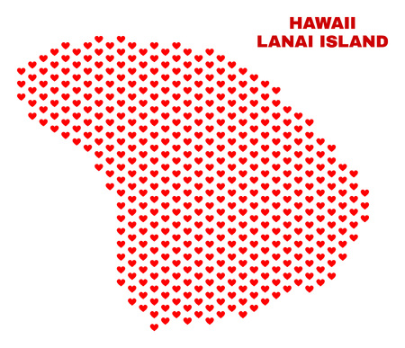 Mosaic Lanai Island map of heart hearts in red color isolated on a white background. Regular red heart pattern in shape of Lanai Island map. Abstract design for Valentine decoration.