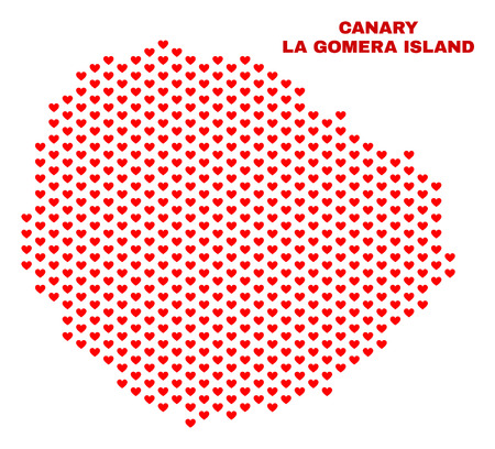 Mosaic La Gomera Island map of love hearts in red color isolated on a white background. Regular red heart pattern in shape of La Gomera Island map. Abstract design for Valentine decoration. 向量圖像
