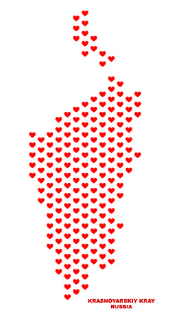 Mosaic Krasnoyarskiy Kray map of love hearts in red color isolated on a white background. Regular red heart pattern in shape of Krasnoyarskiy Kray map. Abstract design for Valentine decoration.