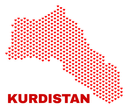 Mosaic Kurdistan map of valentine hearts in red color isolated on a white background. Regular red heart pattern in shape of Kurdistan map. Abstract design for Valentine illustrations.