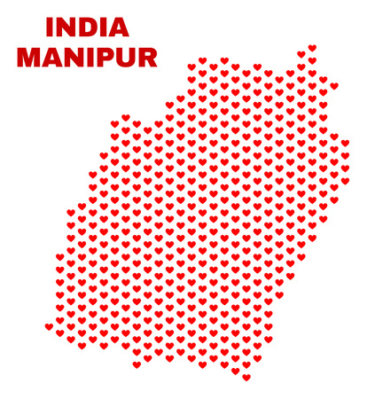 Mosaic Manipur State map of love hearts in red color isolated on a white background. Regular red heart pattern in shape of Manipur State map. Abstract design for Valentine decoration. Stock Illustratie