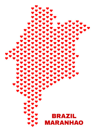 Mosaic Maranhao State map of heart hearts in red color isolated on a white background. Regular red heart pattern in shape of Maranhao State map. Abstract design for Valentine illustrations.