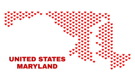 Mosaic Maryland State map of love hearts in red color isolated on a white background. Regular red heart pattern in shape of Maryland State map. Abstract design for Valentine illustrations.