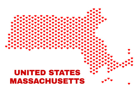 Mosaic Massachusetts State map of valentine hearts in red color isolated on a white background. Regular red heart pattern in shape of Massachusetts State map. Abstract design for Valentine decoration.