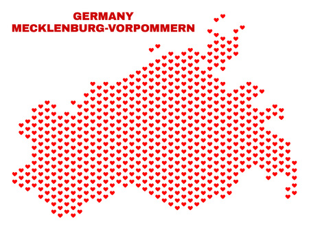 Mosaic Mecklenburg-Vorpommern Land map of heart hearts in red color isolated on a white background. Regular red heart pattern in shape of Mecklenburg-Vorpommern Land map. Stock Illustratie