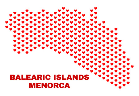 Mosaic Menorca Island map of valentine hearts in red color isolated on a white background. Regular red heart pattern in shape of Menorca Island map. Abstract design for Valentine illustrations.