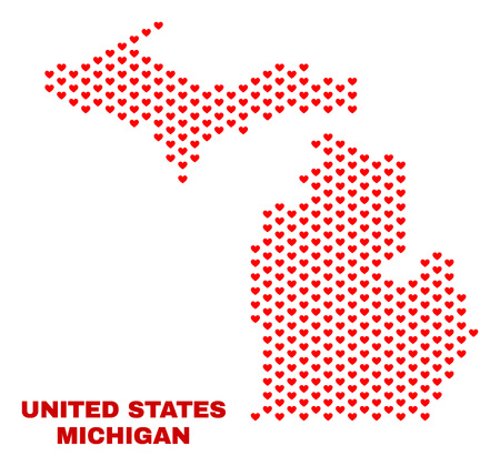 Mosaic Michigan State map of love hearts in red color isolated on a white background. Regular red heart pattern in shape of Michigan State map. Abstract design for Valentine illustrations. Stock Illustratie