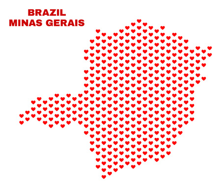 Mosaic Minas Gerais State map of love hearts in red color isolated on a white background. Regular red heart pattern in shape of Minas Gerais State map. Abstract design for Valentine illustrations.