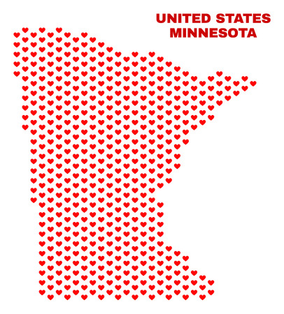 Mosaic Minnesota State map of valentine hearts in red color isolated on a white background. Regular red heart pattern in shape of Minnesota State map. Abstract design for Valentine illustrations.