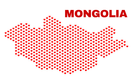 Mosaic Mongolia map of valentine hearts in red color isolated on a white background. Regular red heart pattern in shape of Mongolia map. Abstract design for Valentine illustrations.
