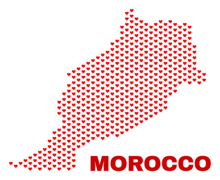 Mosaic Morocco map of love hearts in red color isolated on a white background. Regular red heart pattern in shape of Morocco map. Abstract design for Valentine decoration.